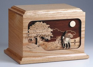 Wood Urn with Horse Scene