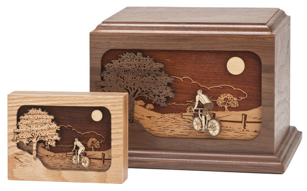Bicycle Road Home Wood Cremation Urn