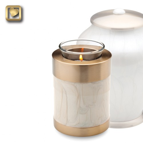 Tealight Brass Cremation Urn in Pearl White