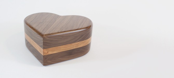 Custom Made Urns: Wood Heart Shaped Cremation Urn
