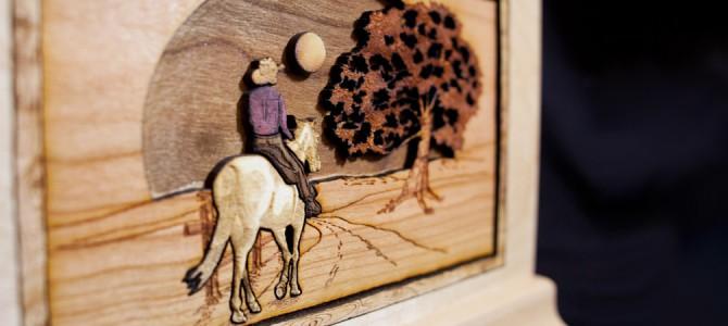 Horse & Rider Wood Art Cremation Urn