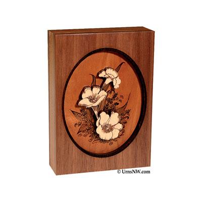 Wood Art Floral Keepsake Urns