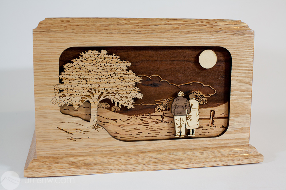 Together Again Wood Art Companion Urn For Two