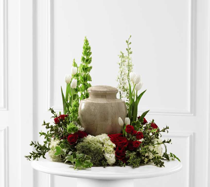 Funeral Urn Memorial Service Table Arrangement Ideas
