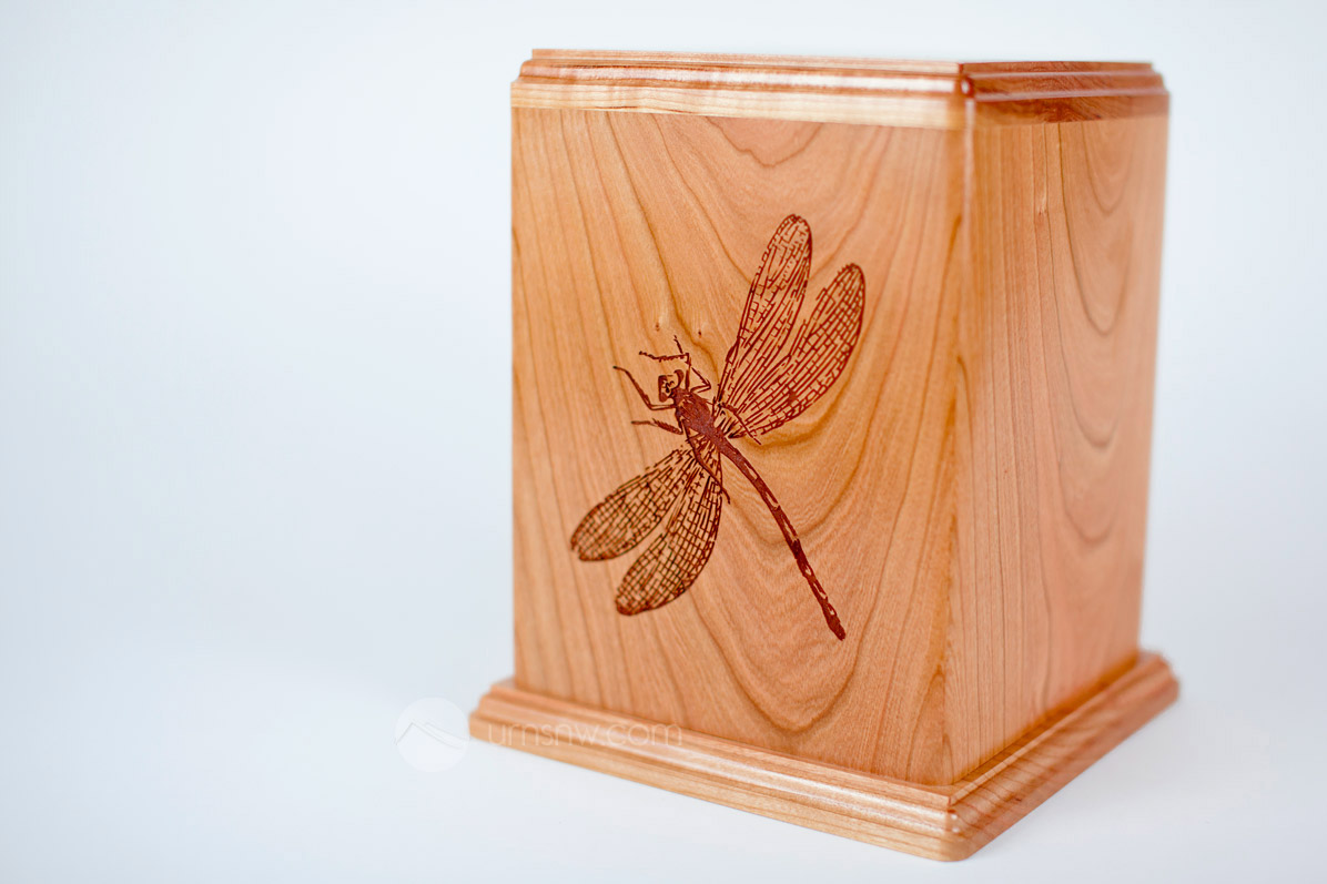 Video Wooden Dragonfly Cremation Urn