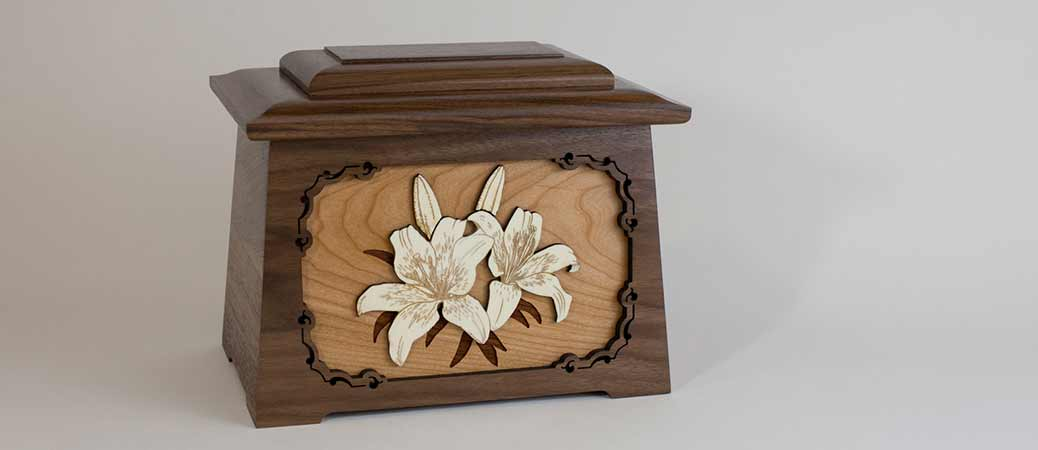 Lily cremation urn with wood art carvings