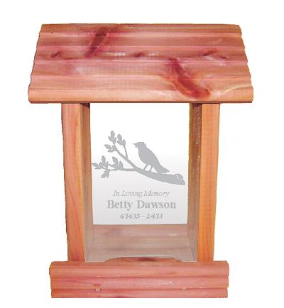 Cedar wood bird feeder, personalized