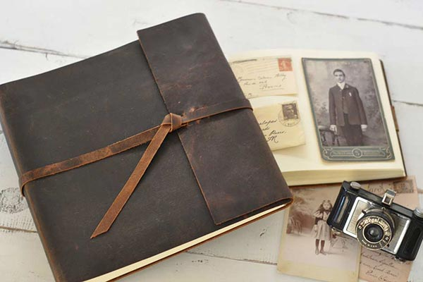 Old Fashioned Rustic Leather Memorial Guest Book