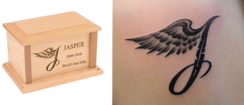 Memorial tattoo and matching cremation urn