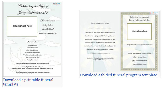 Two Free Funeral Service Templates From Love To Know  Free Printable Obituary Program Template