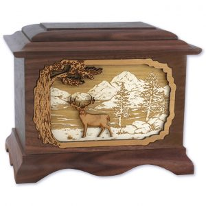 Walnut Wood with Whitetail Deer