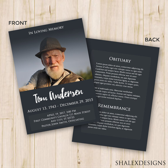 Dark U0026 Elegant 5×7 Funeral Program Card Template U2013 PSD  Free Printable Memorial Service Programs