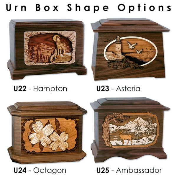 3D Wood Inlay Art Urns