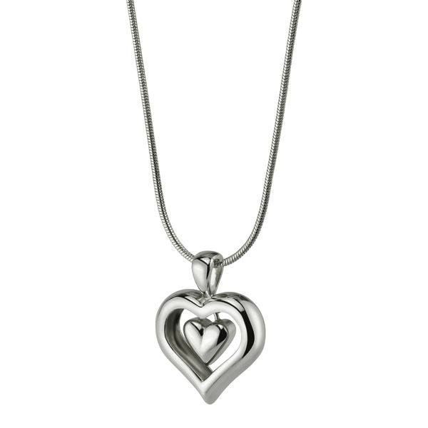 Eternity heart cremation ashes necklace with rhodium finish mozeypictures Images