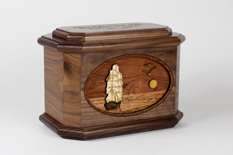 Sailing Ship Octagon Wood Cremation Urn