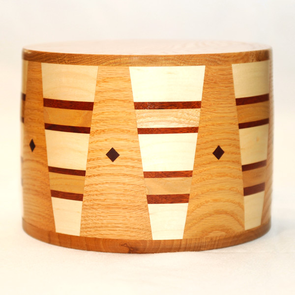 Round Cremation Urn in Oak, Hickory, Padauk