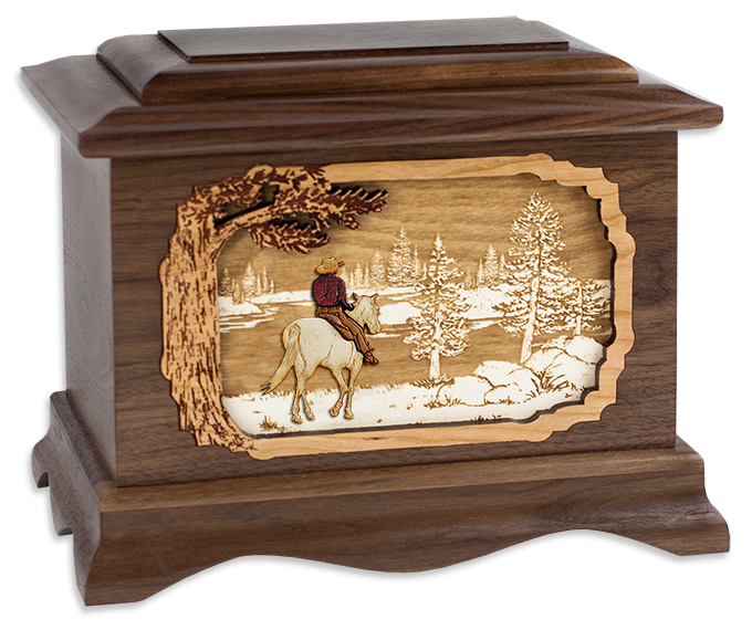 Wood Cremation Urn With Great Lakes Art Inlay 187 Urns Online