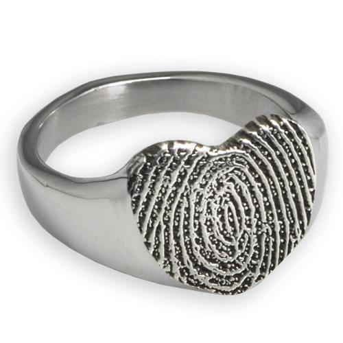 Sterling Silver Memorial Ring with Engraved Fingerprint