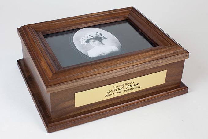 Personalized Memorial Box in Walnut Wood