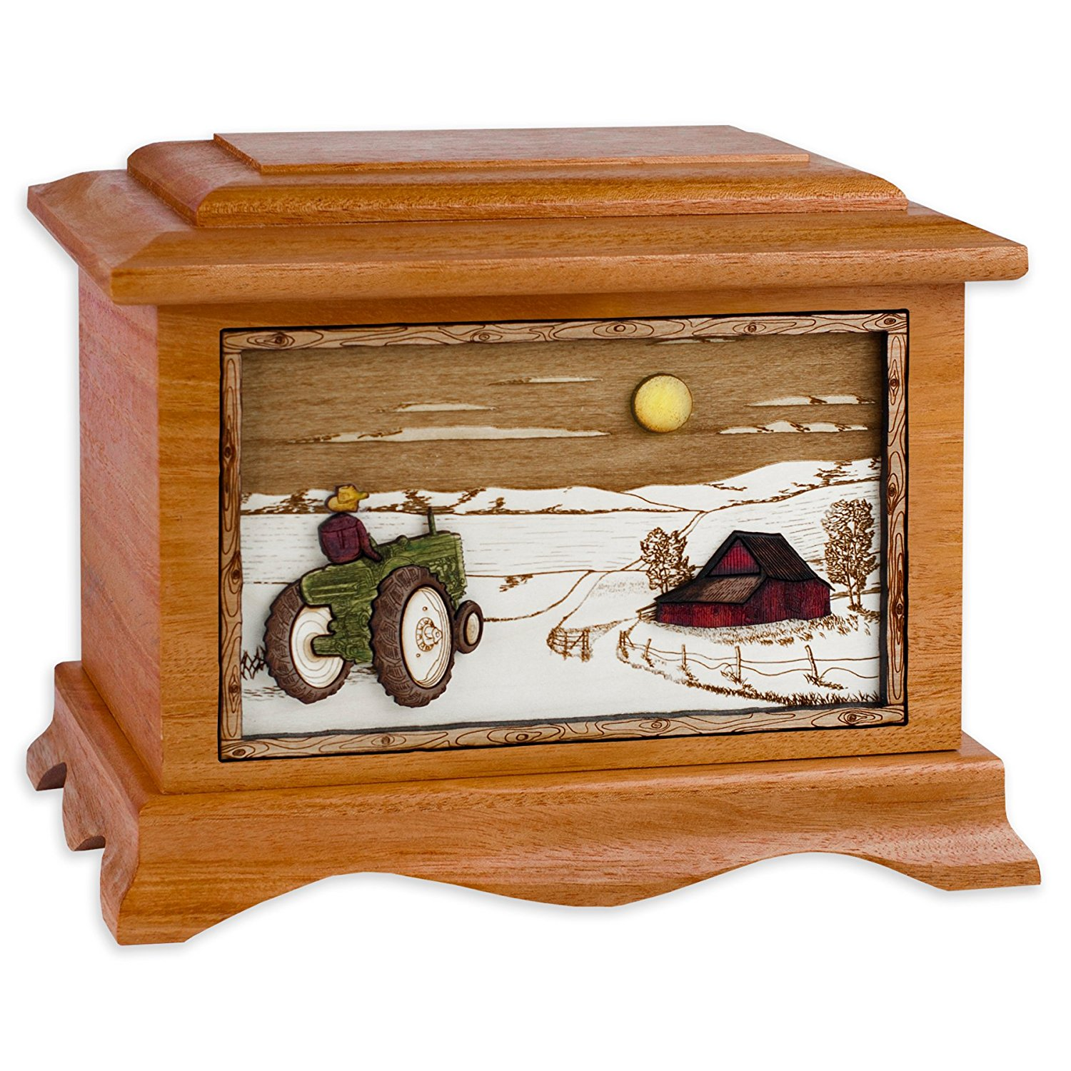 Mahogany Wood Funeral Urn with Farm & Tractor Inlay Art