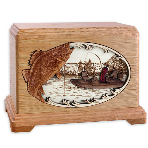 Wooden funeral urns with fishing inlay art