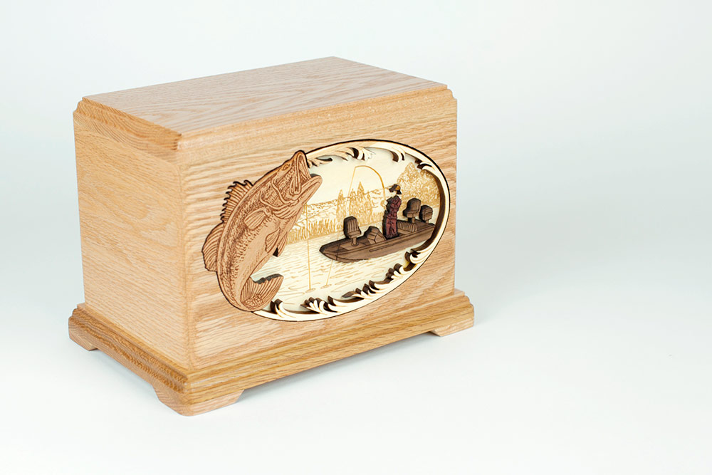 Bass Fisherman Funeral Urn with Inlay Art