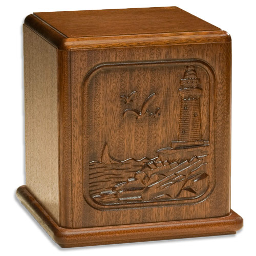 Relief Carved Lighthouse Wood Cremation Urn