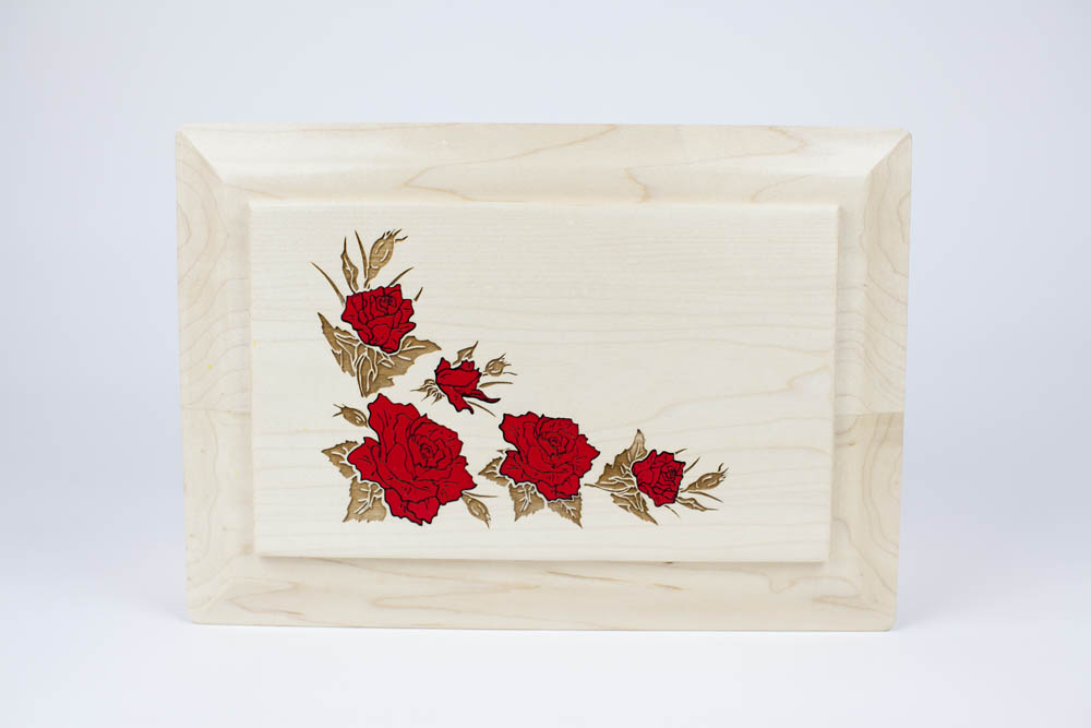 Flower Inlay Memorial Urn for Ashes
