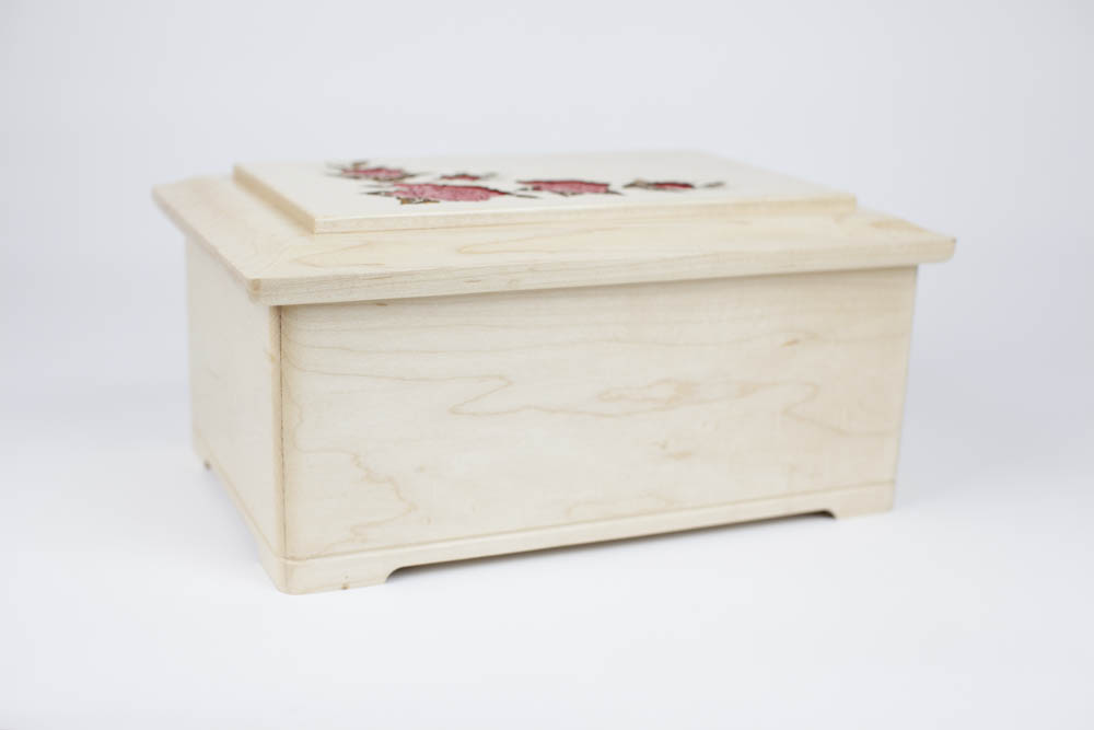 Solid maple wood urn, made in the USA