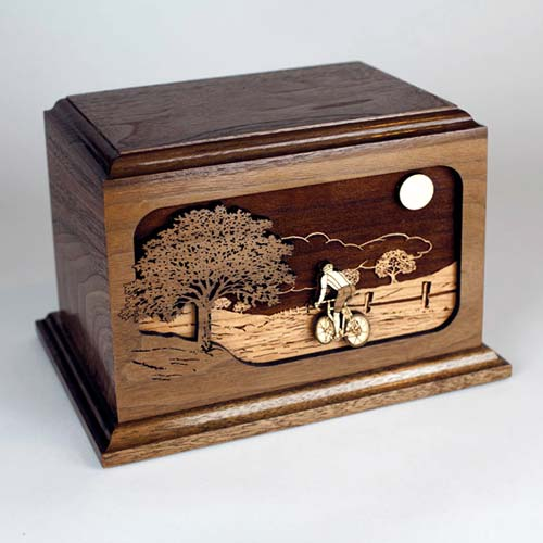 Wooden Cremation Urn with Bicycle Road Home Inlay Art