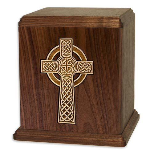 Rustic Wooden Cremation Urns - Celtic Cross