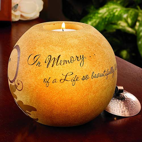 Round sympathy gift tea light candle