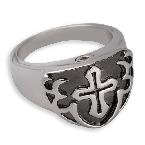 Men's Cremation Ring with Cross