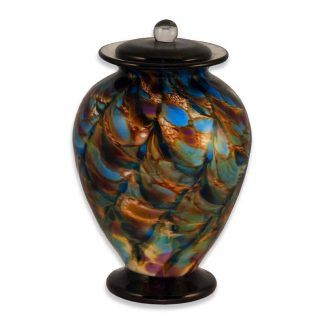 Hand-blown Glass Cremation Urn with Evening colors
