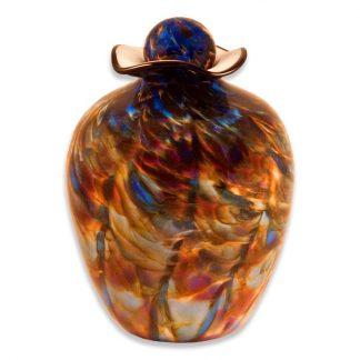 "Glass Cremation Urns in ""Evening"" color"