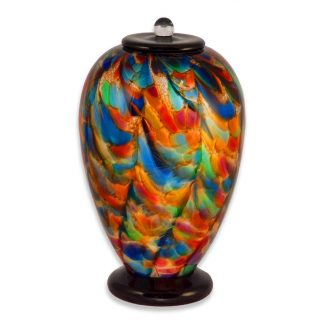 """Autumn"" bright and colorful glass cremation urn"