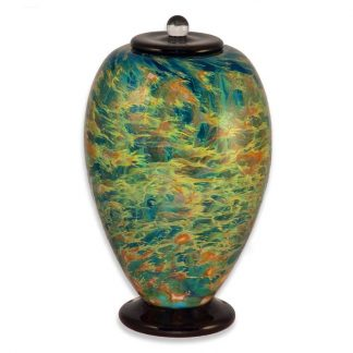 VIbrant and colorful glass urns made in America