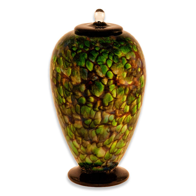 Forrest Green Deco Glass Funeral Urn