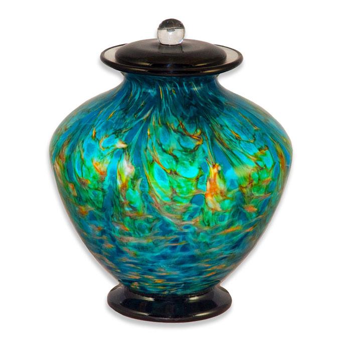 Aegean Blue Finish Cremation Urn