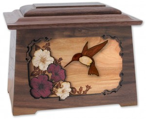Wood Cremation Urn with Hummingbird Scene