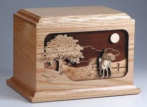 Wood Urn with Horse Scene