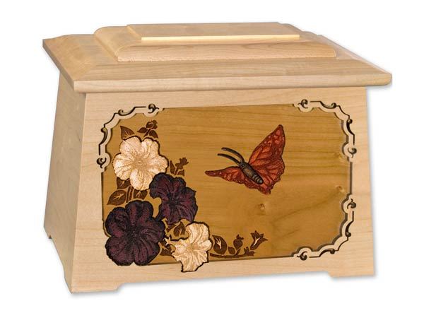 """Astoria"" maple wood urn with butterfly and flower inlay"