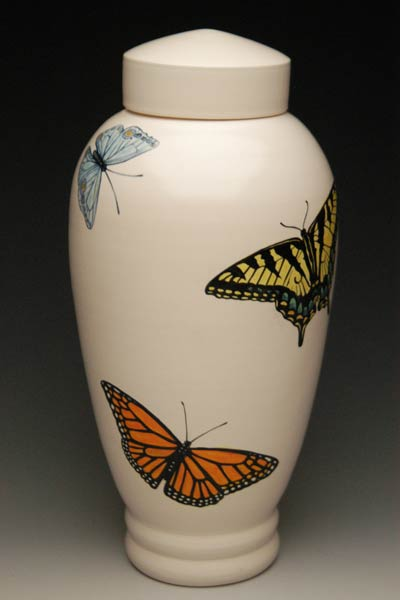 Hand painted ceramic urn with butterflies