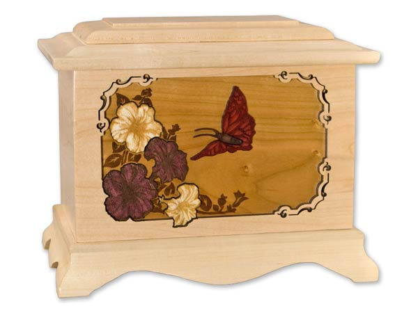 Maple wood urn with Butterfly inlay art
