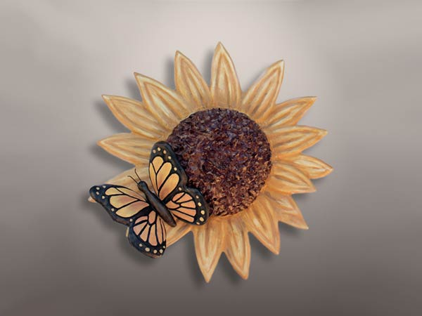 Ceramic Sunflower Urn with Butterfly