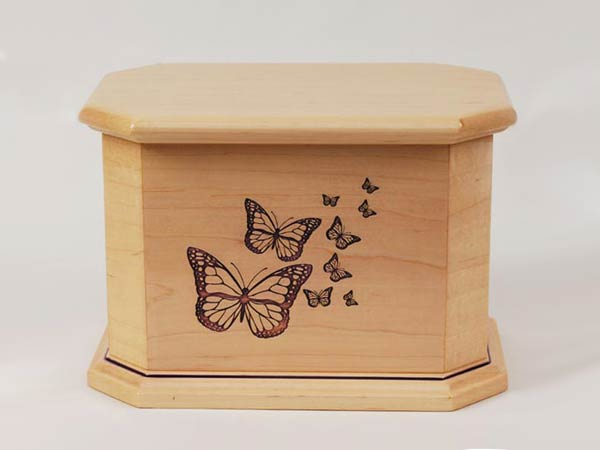 Wood Urn with Butterflies Engraving