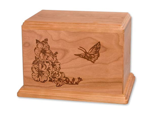 Cherry wood urn with laser etched butterfly image