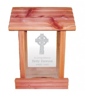 Celtic cross memorial bird feeder