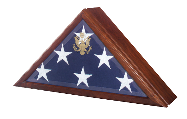 Cremation urn and military flag display