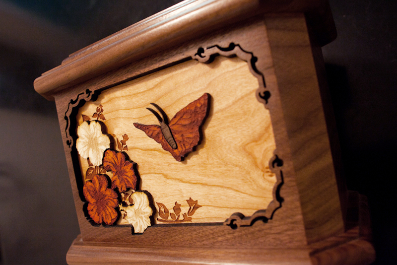 Detail of our wooden cremation urn